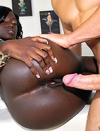 Amazing super hot big tits black babe gets her smooth skin fucked super hard in this interracial fucking picset